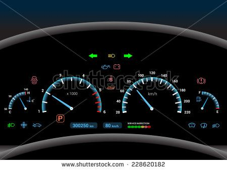 Car Dashboard Modern Automobile Control Illuminated Panel Speed