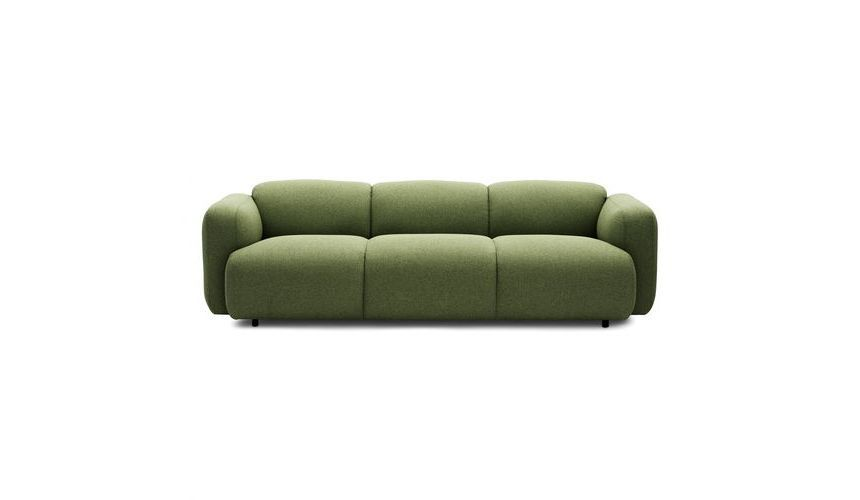 Normann - Swell Sofa 3-Sitzer - grün/Stoff Medley 68005 Leicester