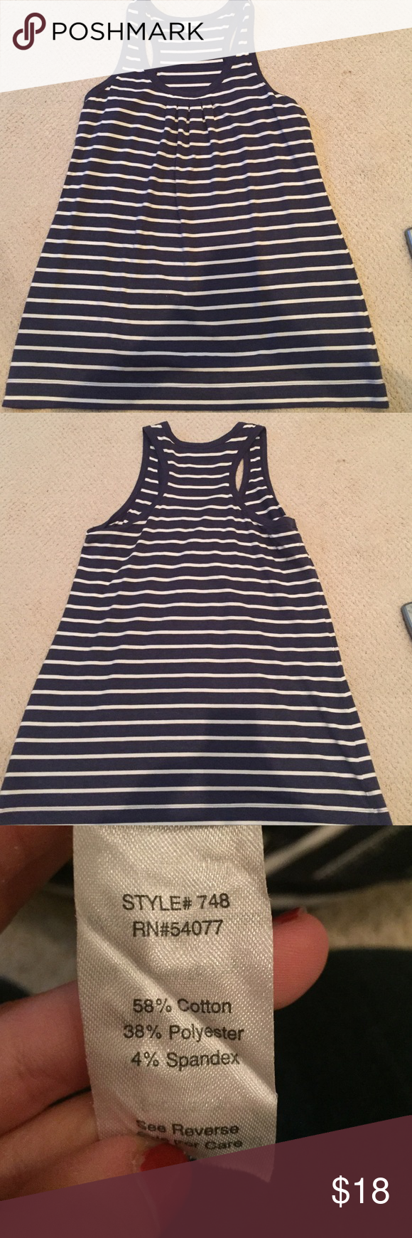 CAbi Blue and White Striped Tank Super soft material. EUC. No marks, stains, or pulls. CAbi Tops Tank Tops