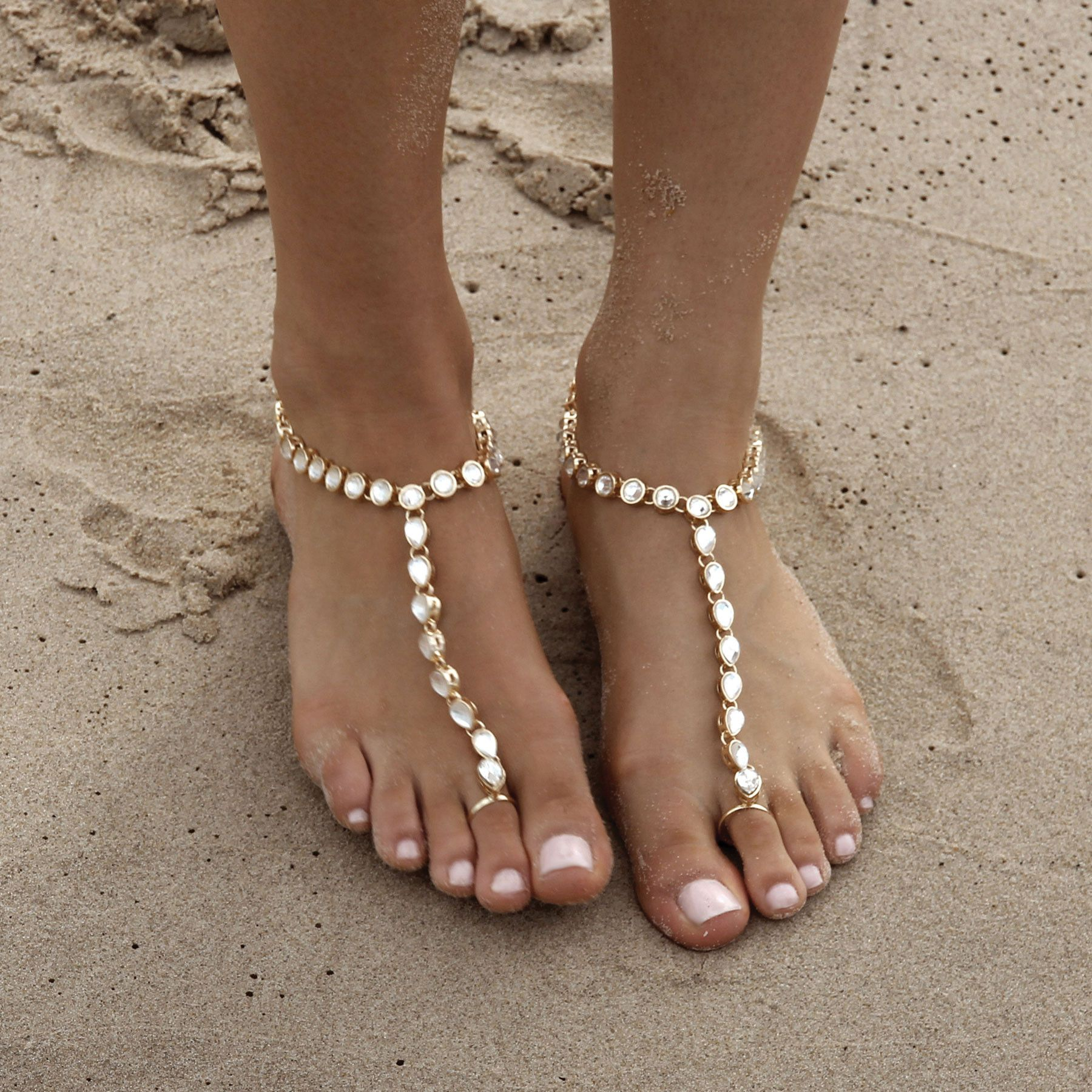 Beach wedding foot jewelry  Gold Barefoot Sandals for the unique bohemian brides beach wedding