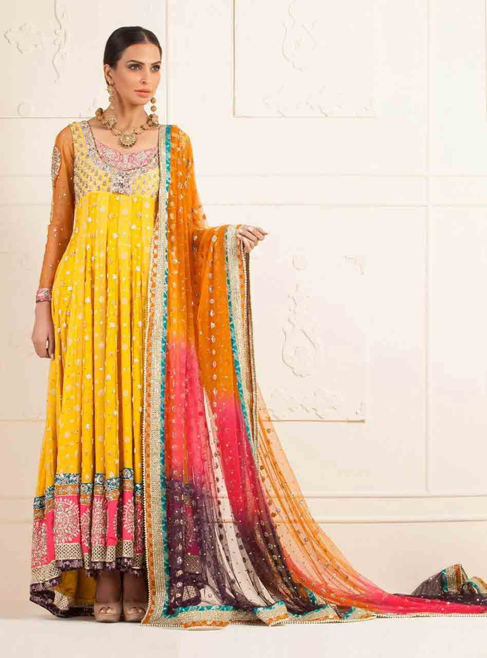 Pakistani designer bridal mehndi dresses with prices for Pakistani wedding mehndi dresses