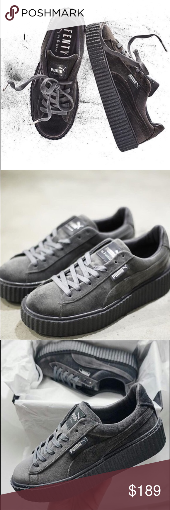 PUMA BY RIHANNA WOMEN S VELVET CREEPER PUMA by Rihanna Collection and FENTY  Selected Style  Glacier Gray Glacier Gray Glacier Gray Velvet upper Lace  closure ... 541d9bf47f