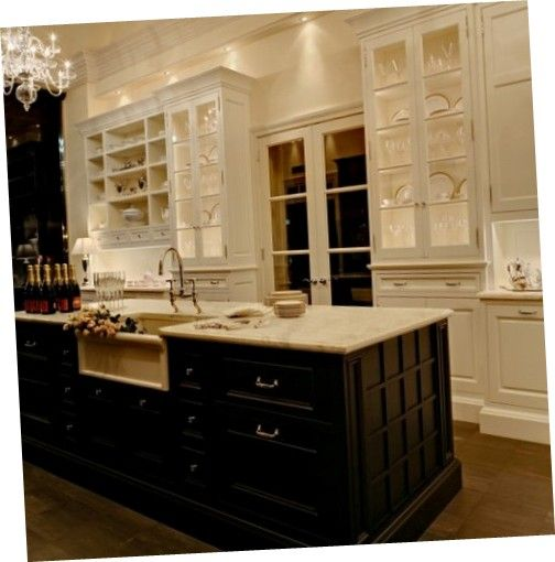 Deluxe White #Kitchen Cabinets Favourable Glass Kitchen Cabinets