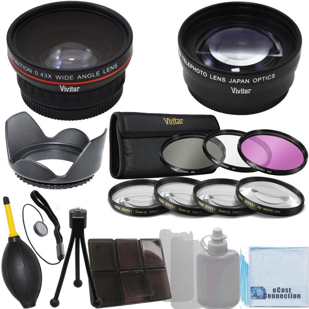 Canon E 2.2x Telephoto Lens Lens Hood with Deluxe Lens Accessories Kit for Canon EF 75-300mm 4-5.6 III Lens 4Pc Close Up Lens 3 Pieces Filter Set Canon EF 50mm 1.4 USM Lens Canon EF-S 55-250mm 4-5.6 IS STM Lens Vivitar 58mm 0.43x Wide Angle Lens