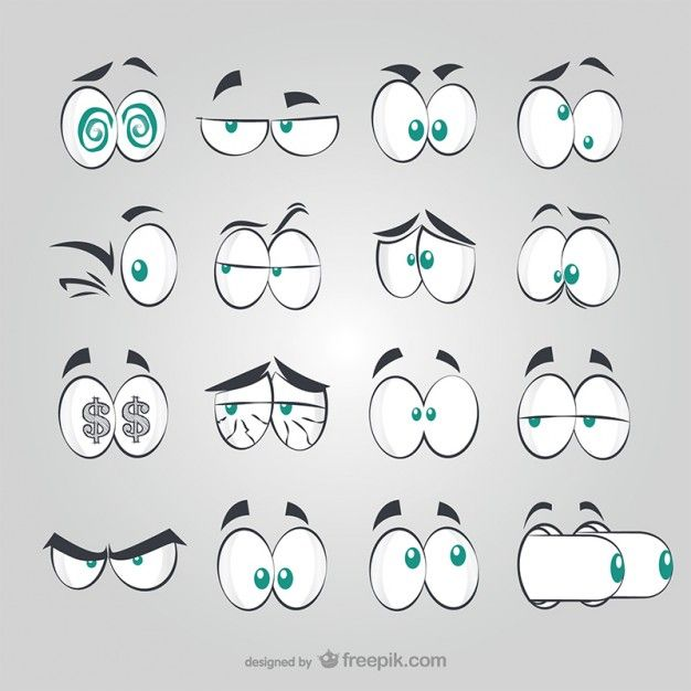 Cartoon Characters Eyes : Yeux de style bd comic doodles and bullet