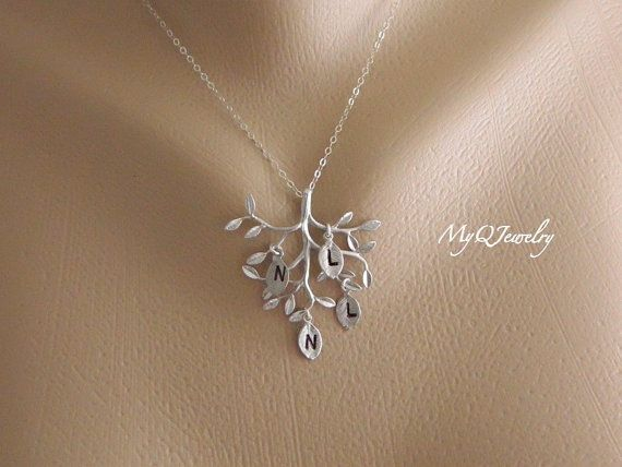 Personalized Gift For Grandma Family Tree Necklace Initial
