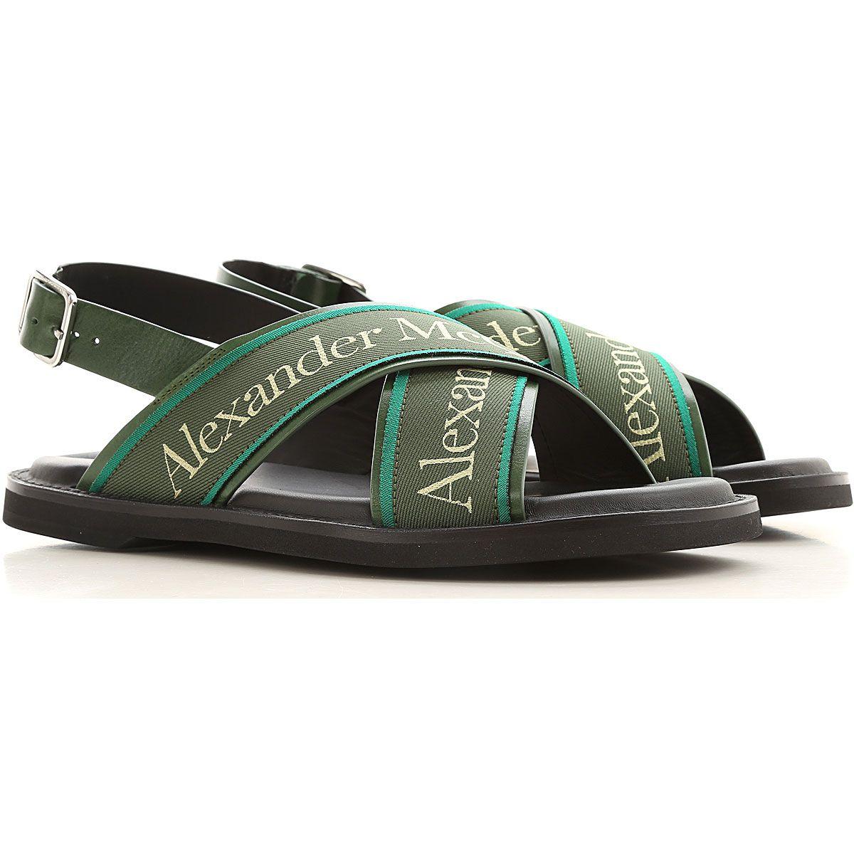 Alexander Mcqueen Sandalias De Hombre Baratos En Rebajas Outlet Verde Piel 2019 41 44 En 2021 Sandalias Hombre Zapatos Hombre Metal Plateado