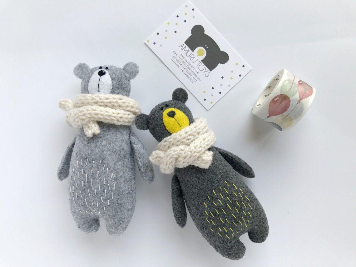 Stuffed Bear In Knitted Scarf, Felt Bear, Felted Miniature Animals, Felt Animals, Teddy Bear Toy, Miniature Bear Woodland Plushie #beartoy