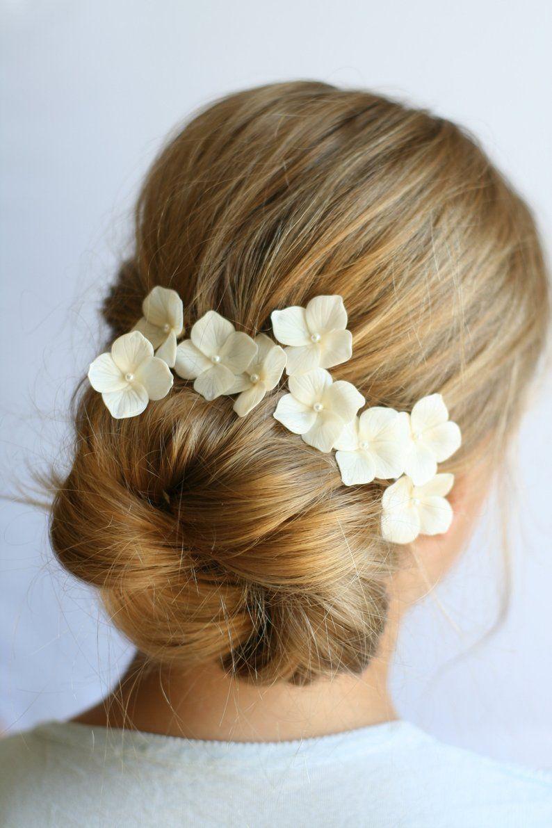 ivory hydrangea hair clip blossom wedding hair clip bridal