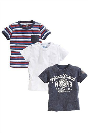 599f4ac44 Boys Clothing Online - 3 months to 6 years - Next T-Shirts Three Pack