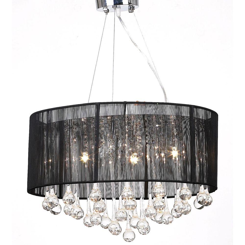 Black Drum Pendant Light Shade Crystal Ceiling Lamp Chandelier