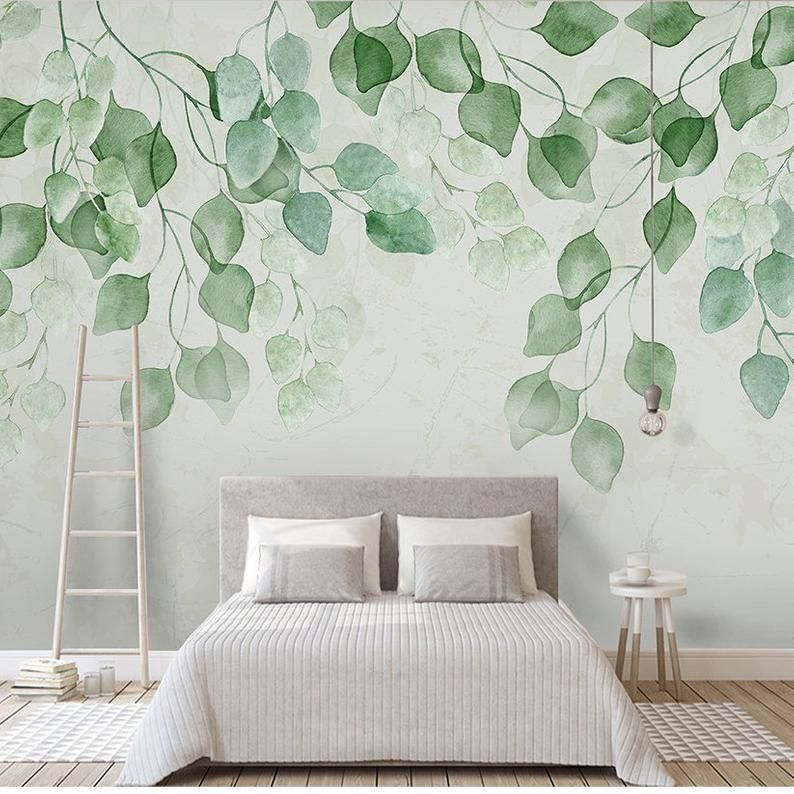 Watercolor Hand Painted Fresh Leaves Wallpaper Wall Mural Etsy