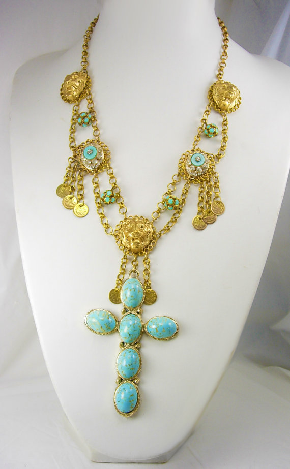 Gothic Lion Turquoise chandelier necklace Huge by vintagesparkles