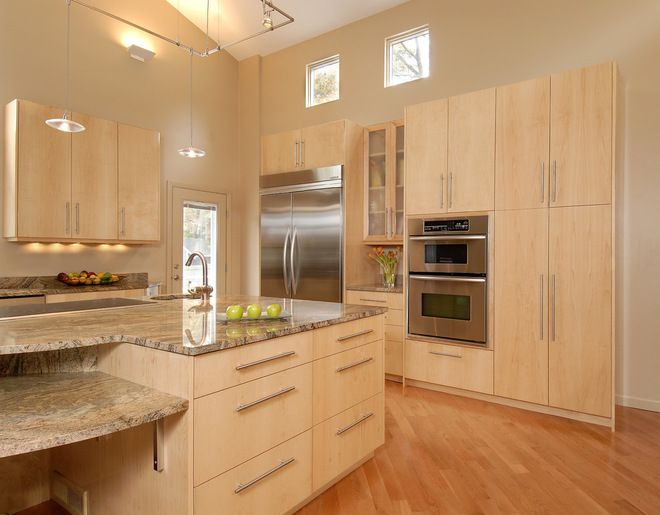 Flat Front Kitchen Cabinets Google Search Maple Kitchen