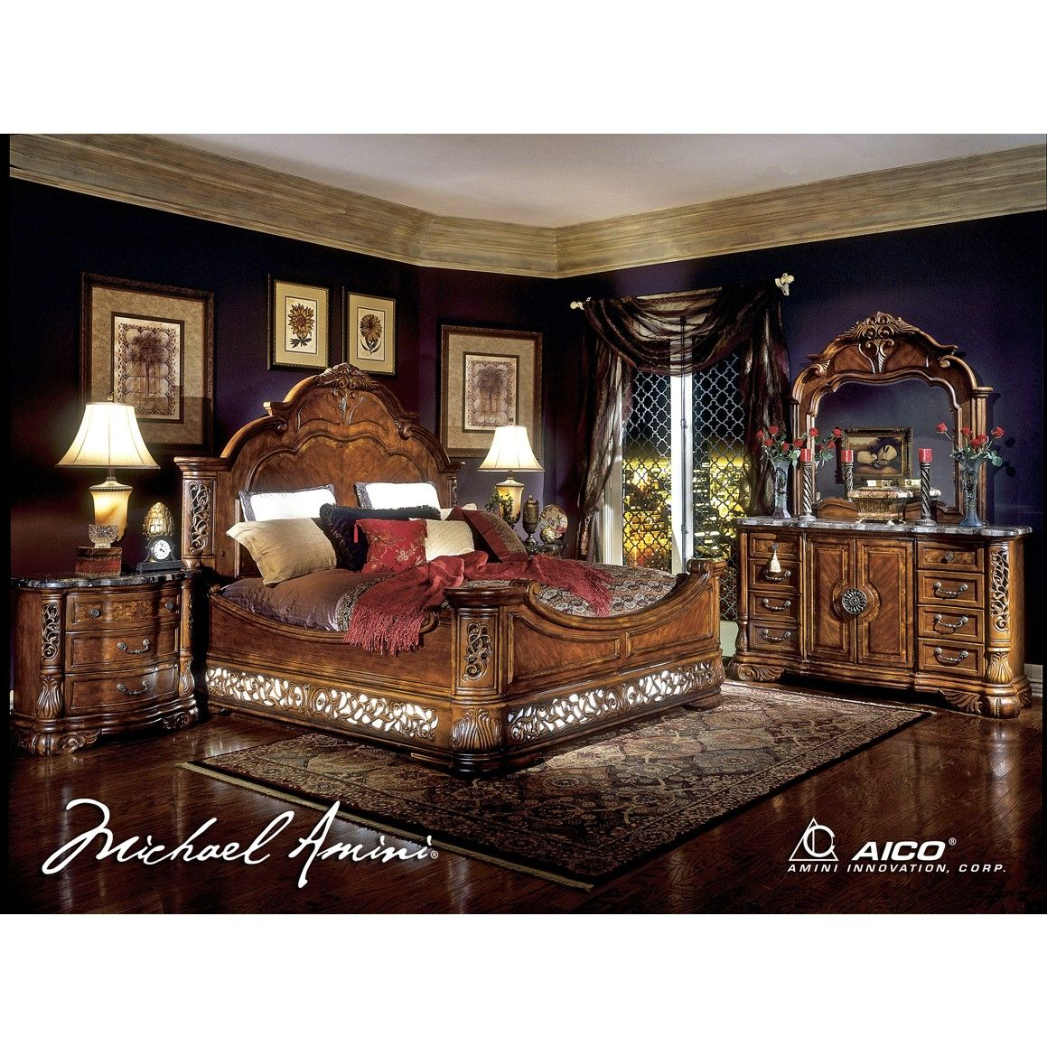 AICO Excelsior King Size Mansion Bedroom Set In Fruitwood Finish
