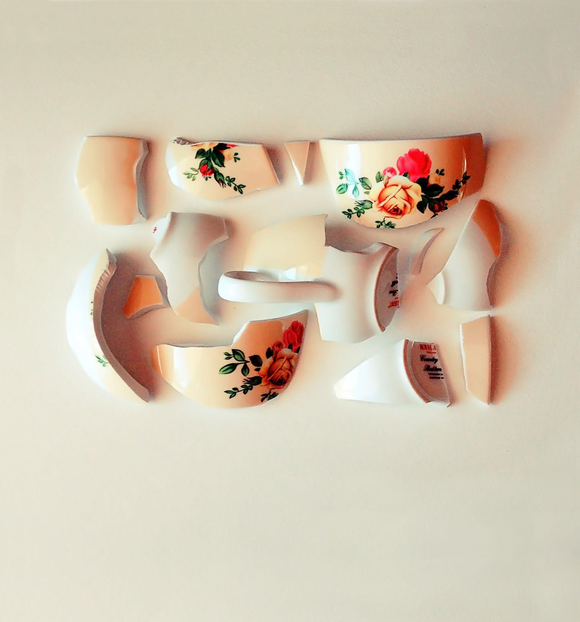 Broken Tea cup, arranged like a mosaic, by Karina Sharpe