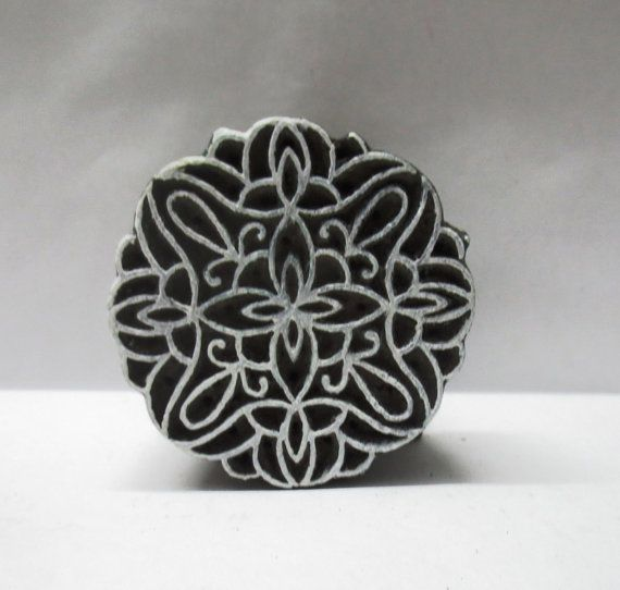 Indian wooden hand carved wood stamp perfect for clay impressions / pottery / fabric ink stamping fine unique round pattern