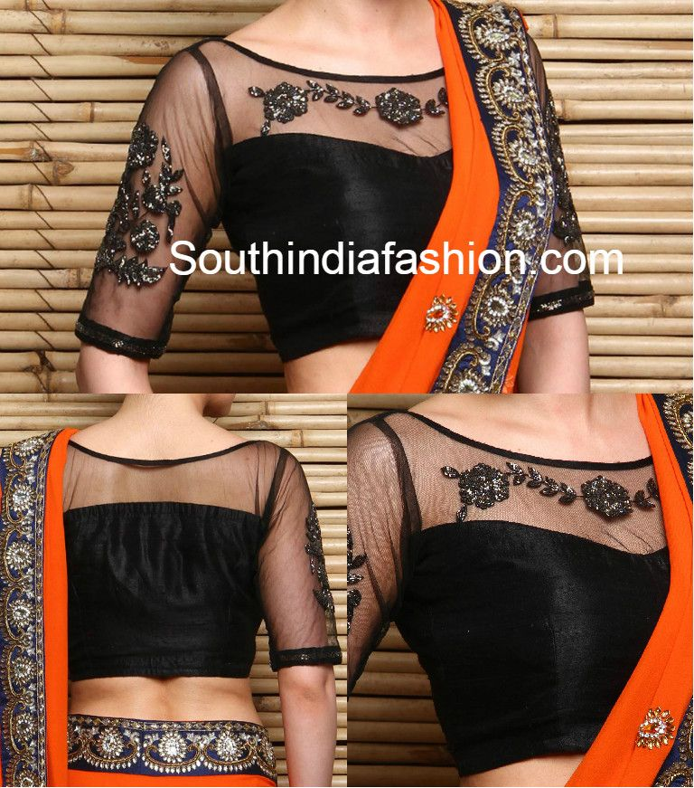 cc3daf0a75314d Black Net Embroidered Blouse, net blouse front and back neck, net blouse  designs for sarees, netted blouse, boat neck blouse