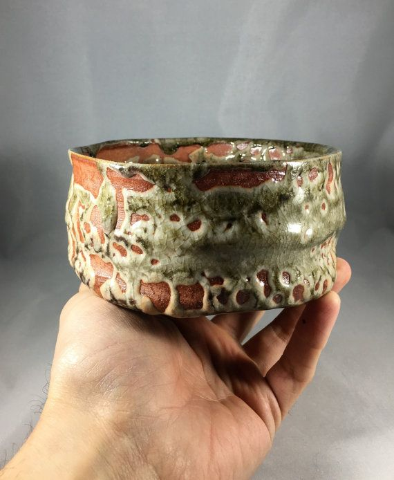 Matcha chawan Japanese teabowl with crawling by ofthedirtpottery