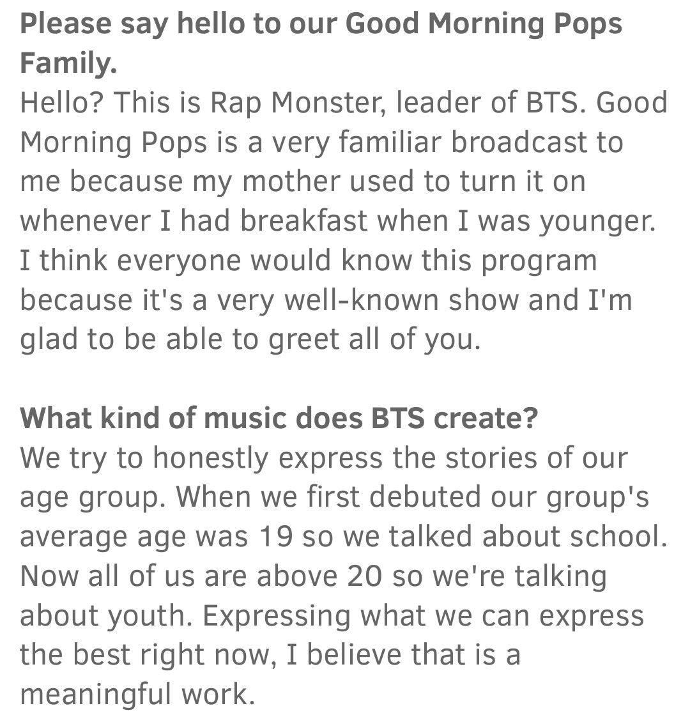 Good Morning Pops Magazine August Interview With Rap Monster ❤ #BTS #방탄소년단