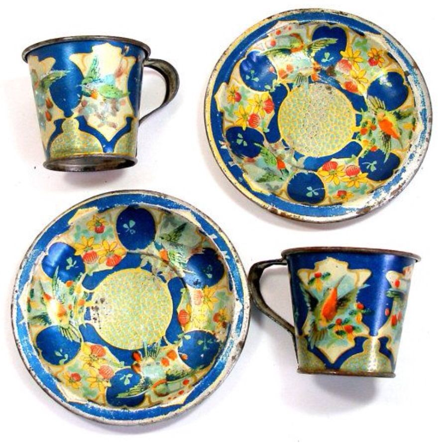 1920s french toy tin dishes toy tea set miniature tea set