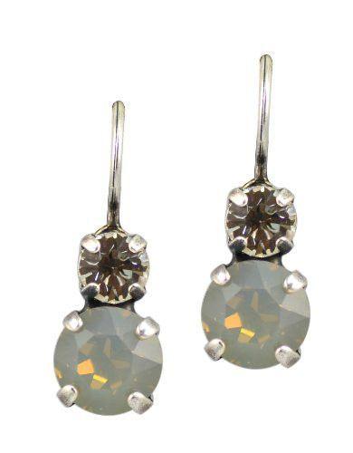 """Marilyn"" Silver Plated Petite Round Swarovski Crystal Drop Earrings"