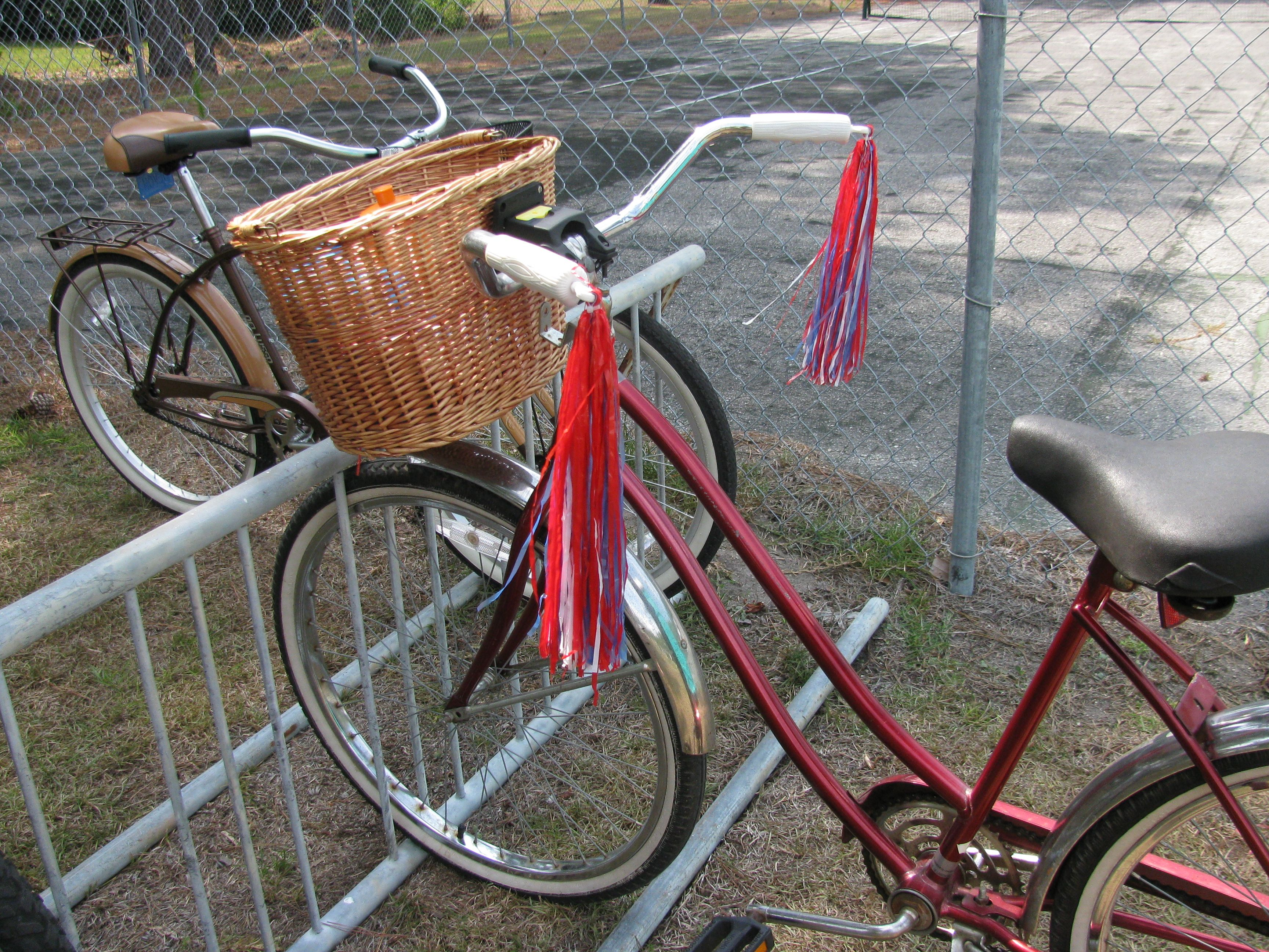 My bike with the wicker basket on, the carmel bike is my grandsons, it came from Walmart.
