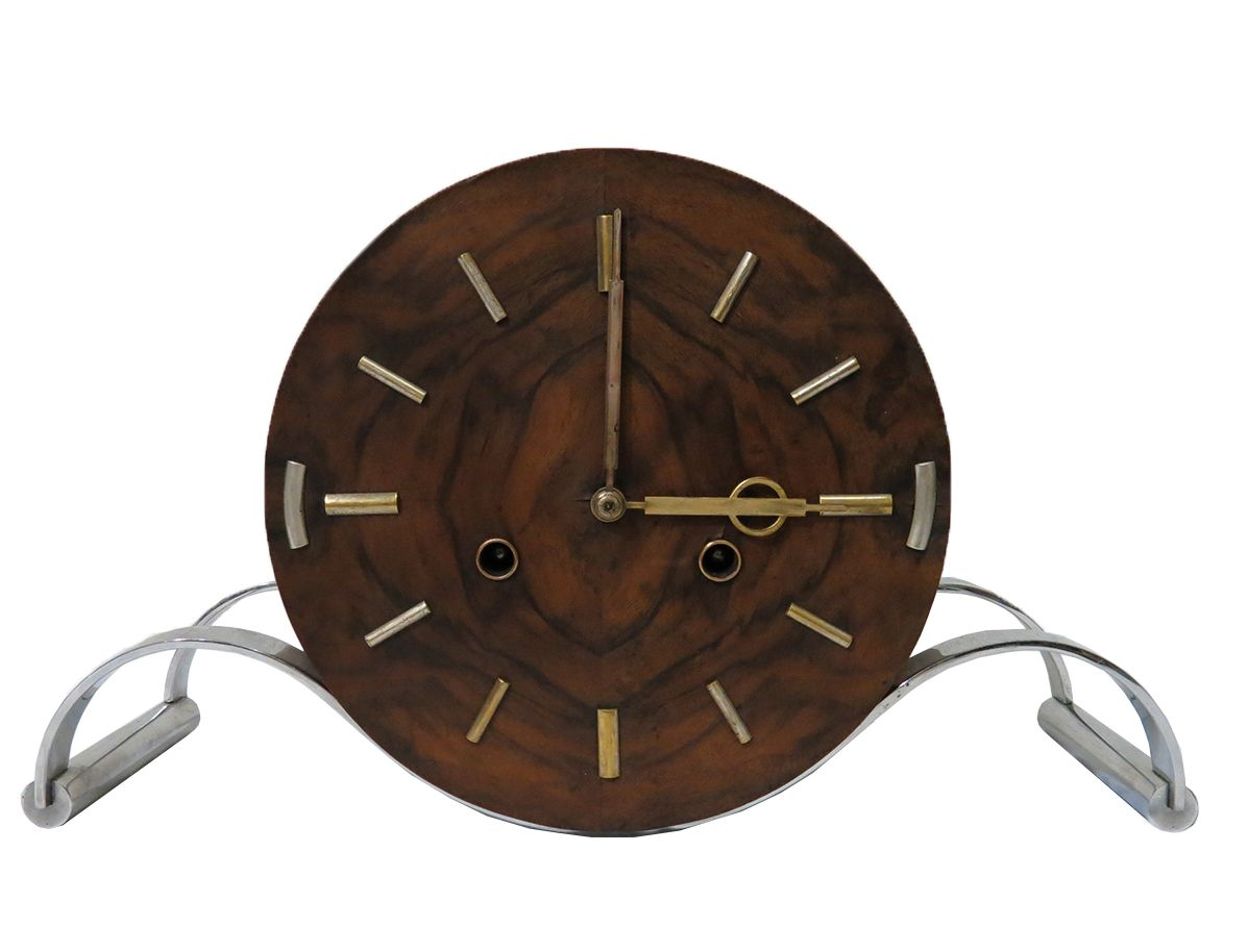 Wood and Nickel French Art Deco Clock