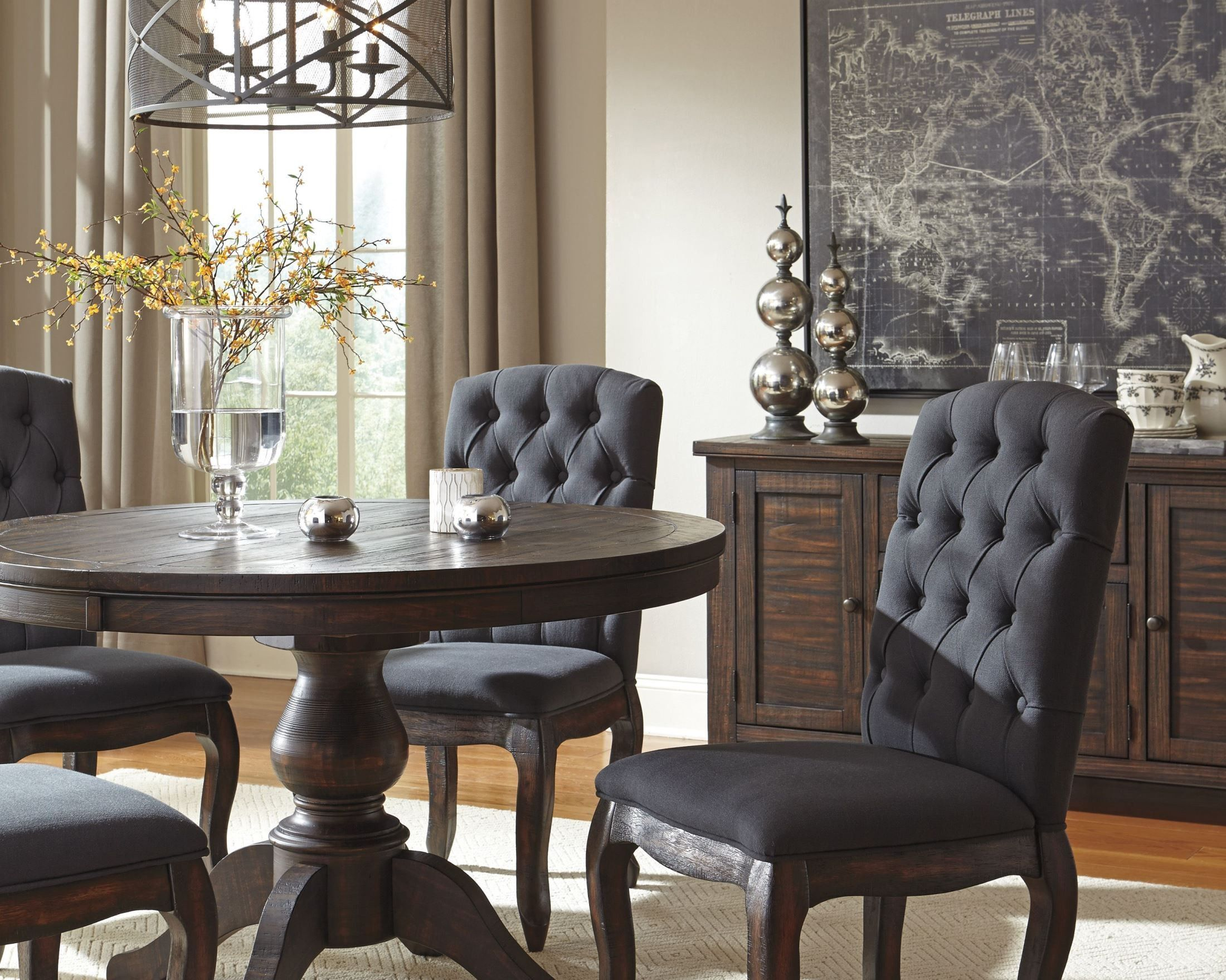 Trudell Dark Brown Round Extendable Pedestal Dining Table Dining
