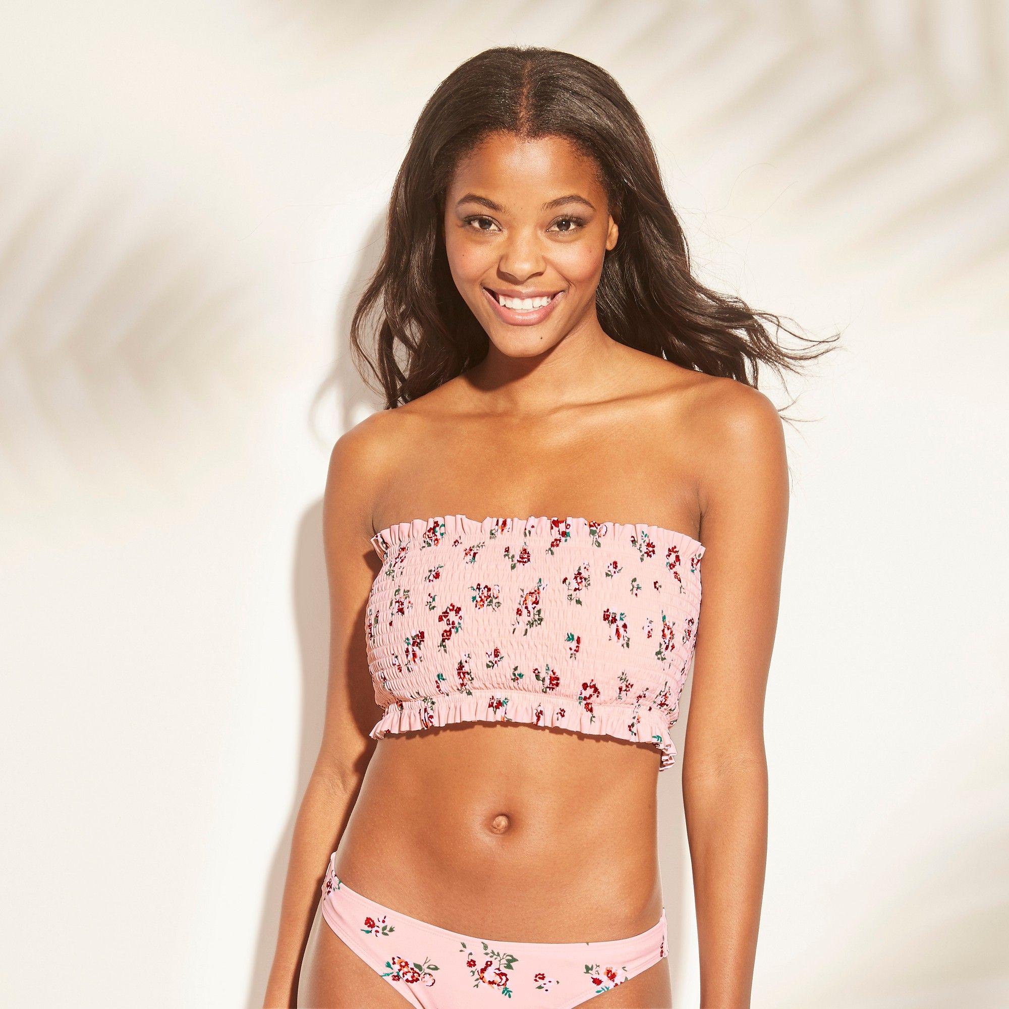 Pink Bandeau Style Bikini with Striped Bottom Childrens Size 10