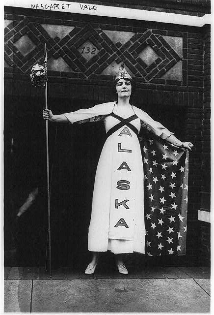 A niece of President Wilson's, Margaret Vale, in a suffrage parade in New York, October 1915. George Grantham Bain Collection photograph.
