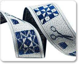 """Renaissance Ribbons - 7/8"""" Quilting Pattern in Blue/Gray/White - By Laura Foster Nicholson"""