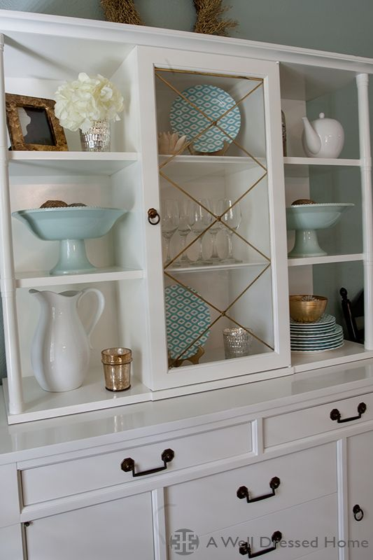 Dining Room Hutch On Wall Between Small Windows