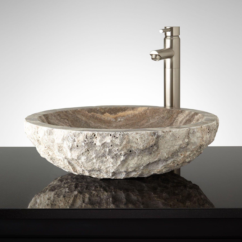 oval chiseled travertine vessel sink