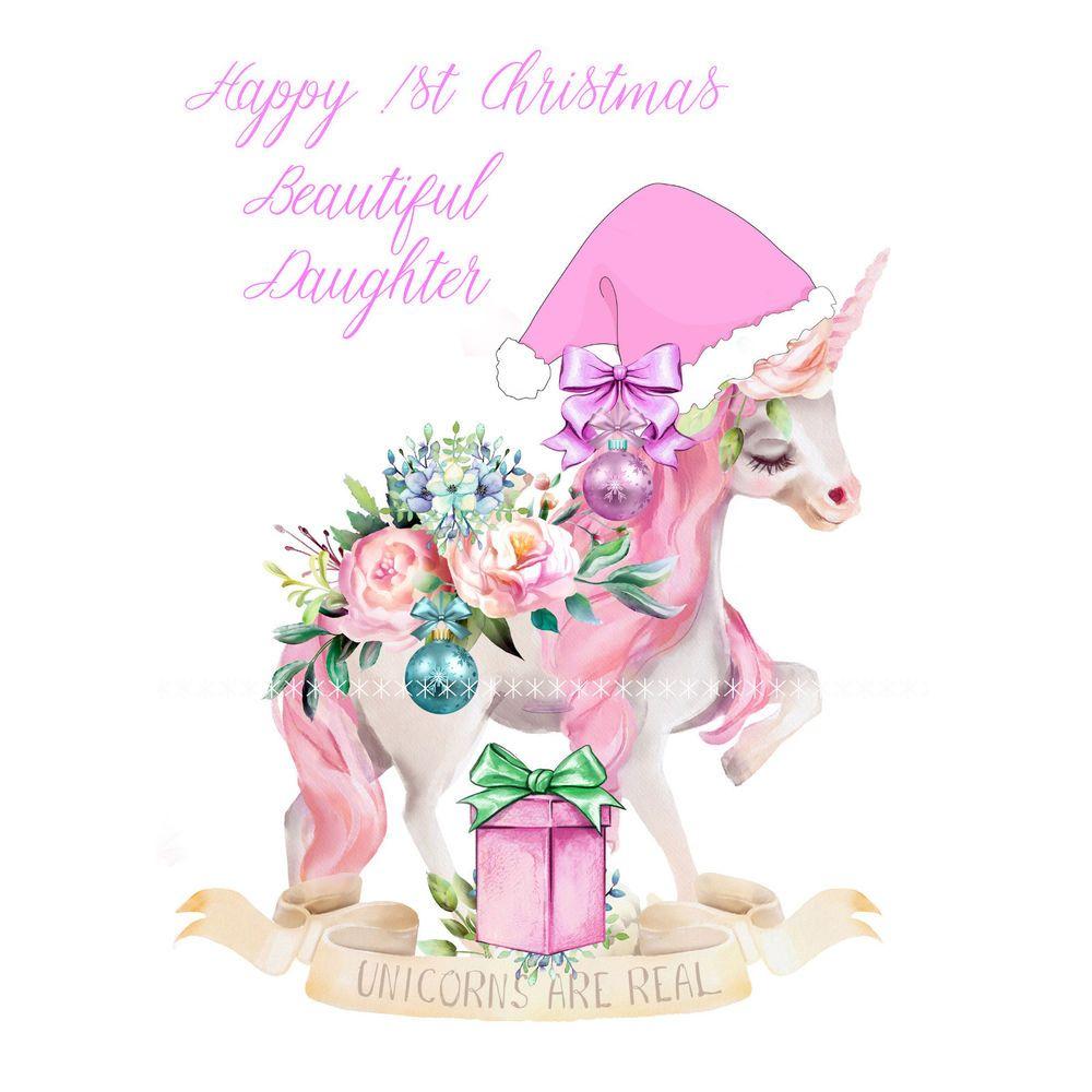Babies First Christmas Card/ Unicorn Luxury greeting card