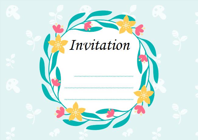 Leaf Wreath Invitation Card
