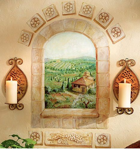 Wallies Tuscan Scenic Window Wall Sticker Mural 15 Decals Italy Brick Wall Decor Colores Paredes Techos Gatos