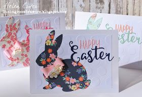 I just thought I'd show you the Easter cards I made this year.   I used a Stampin' Up embossing folder for the background, and the Sizzix L...