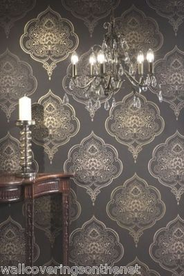 Mocha Gold Black Far Eastern Indian Inspired Damask Wallpaper