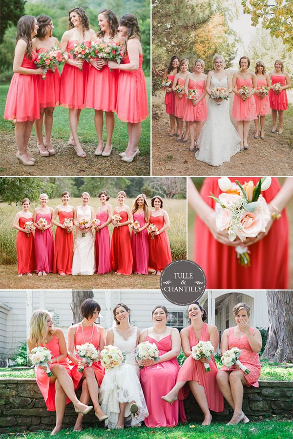 Red Wedding Color Ideas Strawberry Ice Coral Inspired And Bridesmaid Dresses 2015