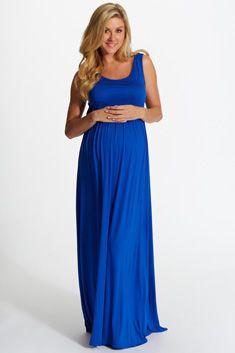 a964a18ef0402 Royal Blue Basic Sleeveless Maternity Maxi Dress | Pregnancy ...