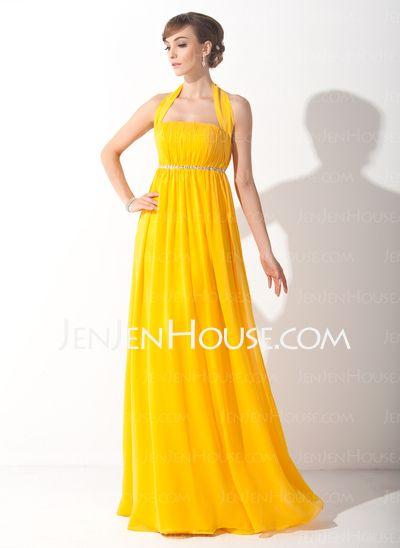 Holiday Dresses - $118.99 - Empire Halter Floor-Length Chiffon Holiday Dress With Ruffle Beading (020015090) http://jenjenhouse.com/Empire-Halter-Floor-Length-Chiffon-Holiday-Dress-With-Ruffle-Beading-020015090-g15090