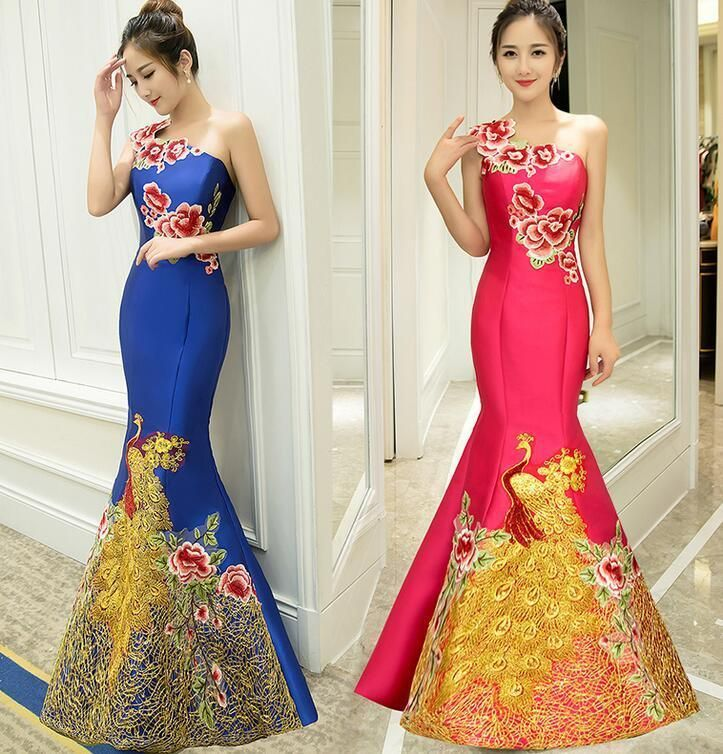Womens Embroidery Floral Retro Toast Wedding Dress Slim Fishtail ...