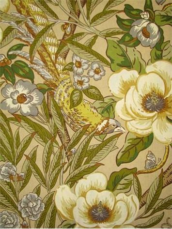 "Tree Top Oasis Fossil.  Tommy Bahama Fabric - Island Memories Collection. 100% cotton canvas floral print. Multi purpose home decorator fabric for drapery, upholstery, pillows, top of the bed or slipcovers. V 27"" / H 27"". Made in U.S.A. 54"" wide."