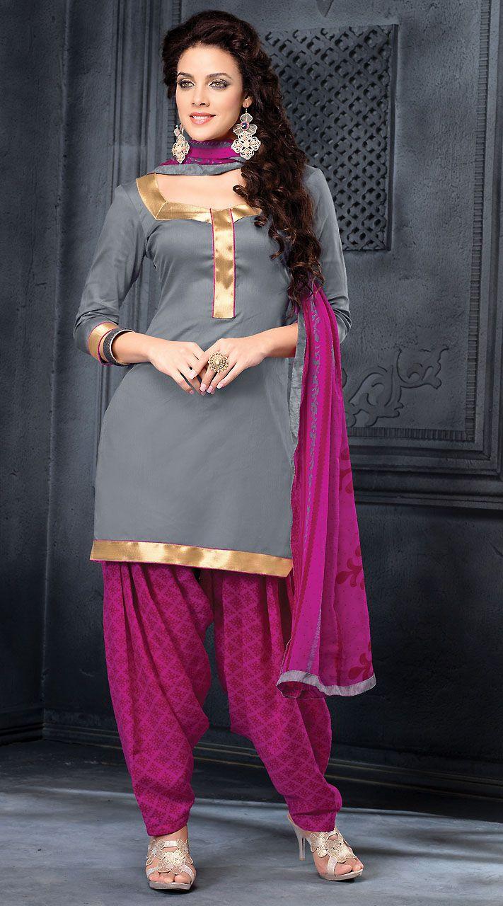 ce88806f57 Classy Silver Cotton Punjabi Suit With Purple Dupatta | Patiala ...