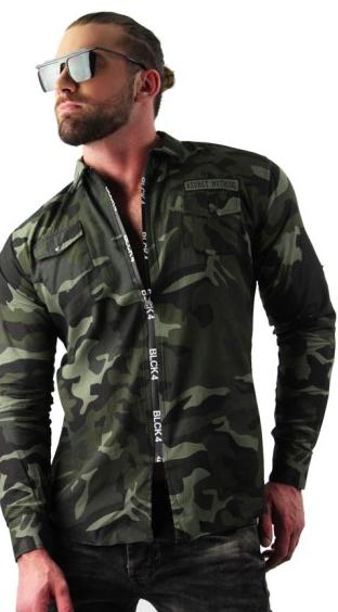 Men Tops Button Down Long Sleeve Loose Blouses Camo Shirt