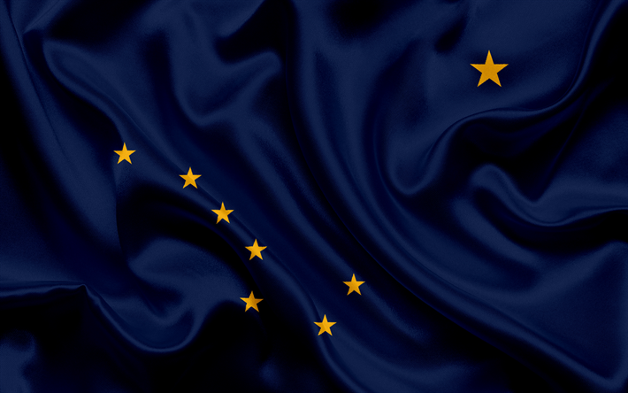 Download Wallpapers Alaska Flag Flags Of States Flag State Of Alaska Usa State Alaska Blue Silk Besthqwallpapers Com Alaska Flag Alaska Usa Flag