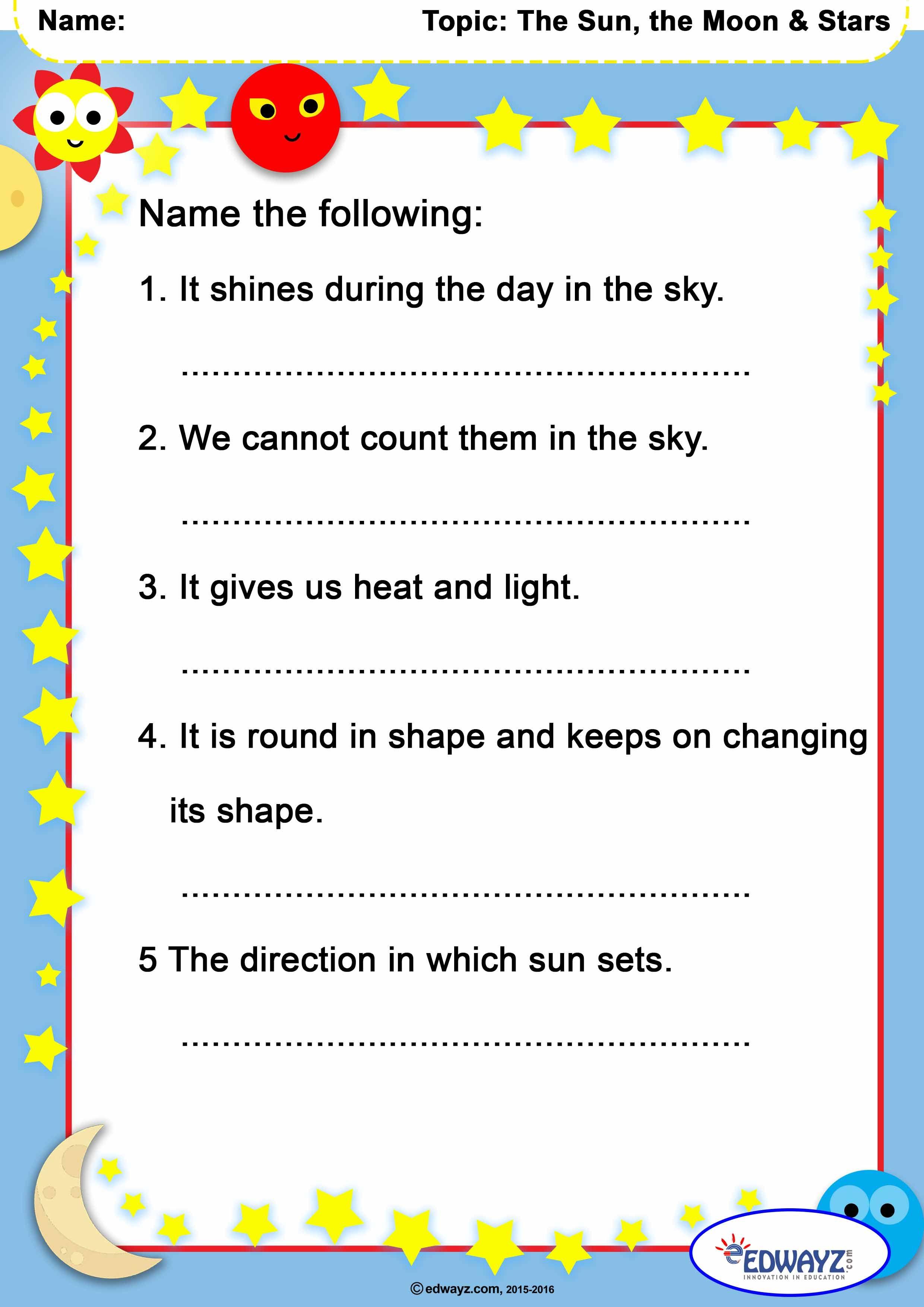 Class1 Grade1 Solarsystem Sun Stars Evs Worksheets