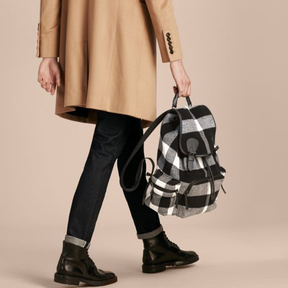 64b61324e229 BURBERRY THE LARGE RUCKSACK IN CHECK WOOL BLEND AND LEATHER.  burberry  bags   leather  canvas  wool  backpacks