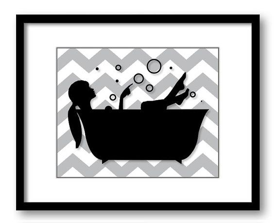 Bathroom decor bathroom print grey gray black white girl with hair up in a bathtub tub bathroom art print wall decor modern minimalist
